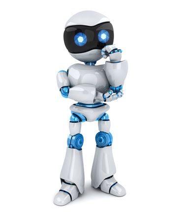 The robot stands and thinks on white background. 3d illustration