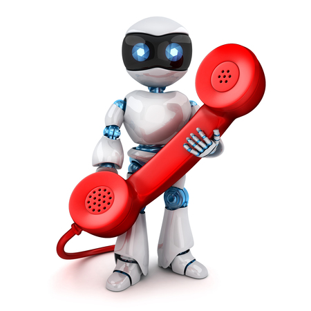 White robot and old red telephone. 3d illustration Stock Photo