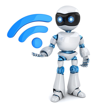 Robot and symbol wireless WiFi. 3d illustration