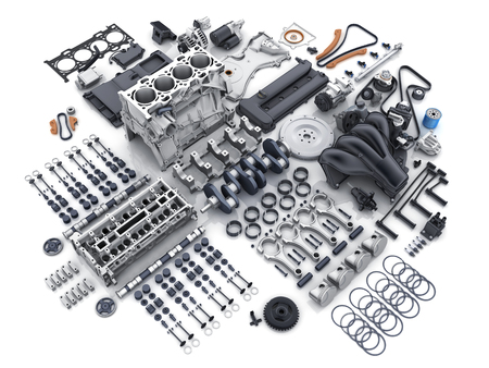 Car engine disassembled. Many parts on white background. 3d illustration