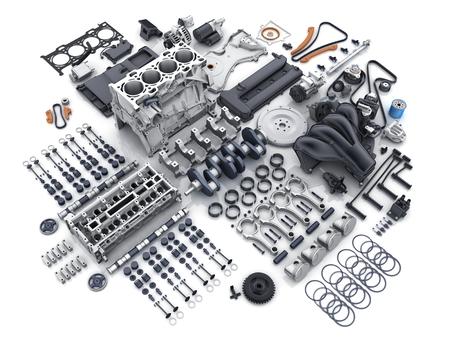 Motore dell'auto smontato. Molte parti su sfondo bianco. Illustrazione 3D Archivio Fotografico