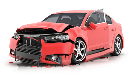 Red car crash on isolated white background. 3d illustration  스톡 콘텐츠