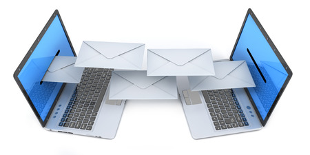 Two laptop and send email letter. 3d illustration Stock Photo
