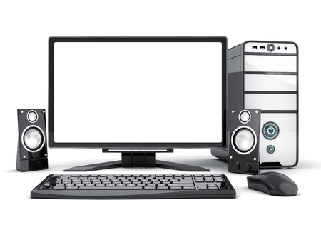 Computer view front and empty white screen. 3d illustration