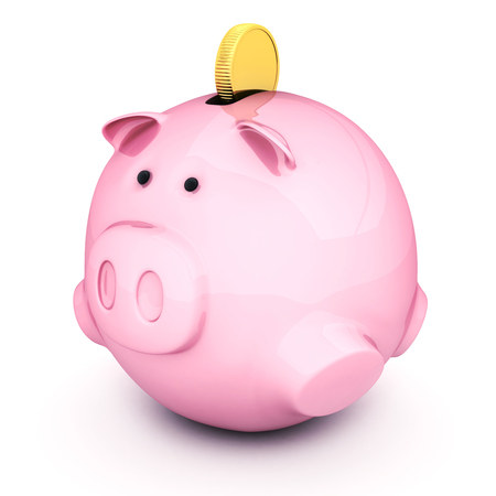 Fat, pink piggy bank and coin. 3d illustration