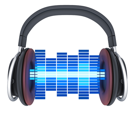 Symbol music and headphone, isolated. 3d illustration Stock Photo