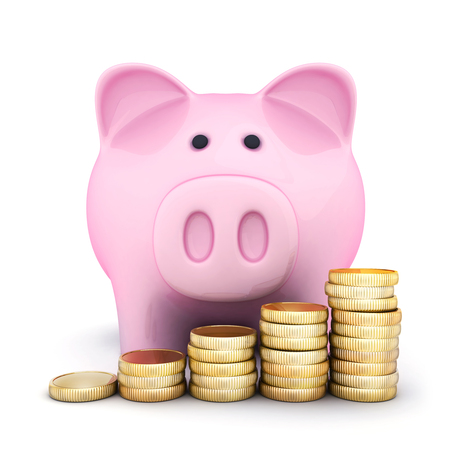 Pink piggy bank and coins. 3d illustration  Stock Photo