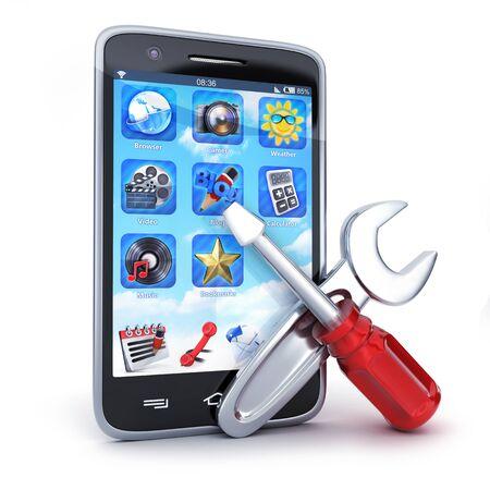 Smartphone repair on white background. 3d illustration Stock Photo