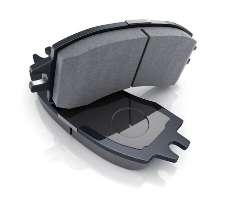 Two black brake pads on white background. 3d illustration