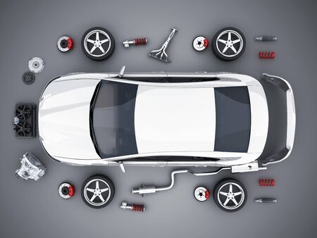 Car body disassembled and many vehicles parts, view top. 3d illustration Reklamní fotografie