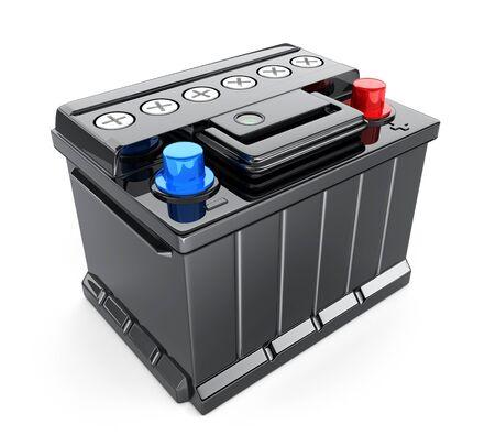 Schwarzes Batterieauto auf weißem Hintergrund. 3D-Darstellung