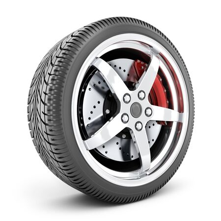 One car wheel on a white isolated background. 3d illustration
