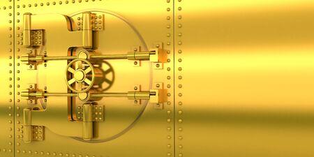 Gold bank door and golden wall.