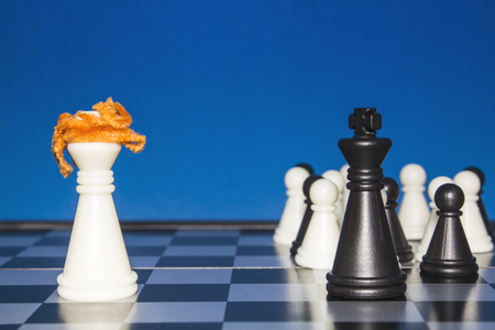 activism: Chess as a policy. A lone white figure with red hair against a black figure with a team.