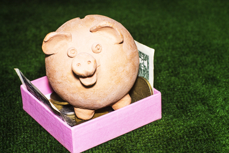 Tax day. Piggy bank with a pink gift box and money against the green carpet background. Stock Photo