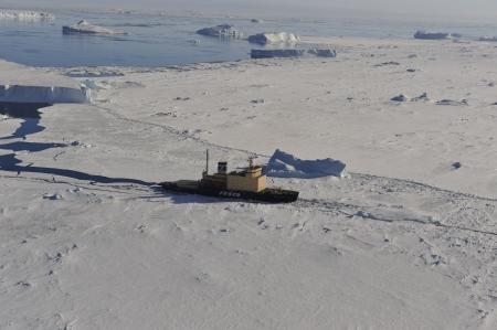 Icebreaker Kapitan Khlebnikov in the ice , Snow  Hill Antarctica 2010 Editorial