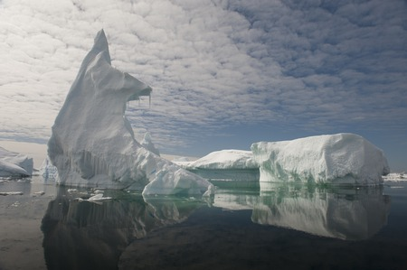 ices: Full calm and reflection of icebergs in deep clear water. Travel by the ship among ices. Snow and ices of the Antarctic islands.