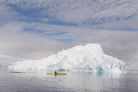 iceberg: Beatyful Icebergs in Antarctica travel on the kayak Stock Photo