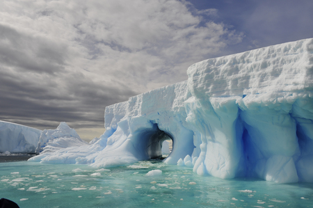 Beatyful Icebergs in Antarctica travel on the ship Stock Photo