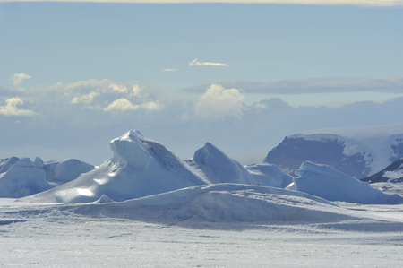 Beautiful view of icebergs in Snow Hill Antarctica
