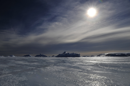 Beautiful view of icebergs in Snow Hill Antarctica, global warming and climate change concept