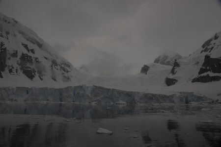 Beautiful view of icebergs and glacier in Antarctica