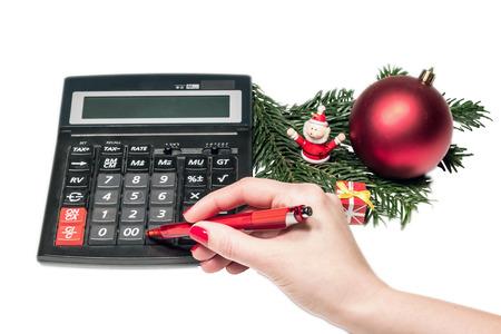 calculating: Calculating Christmas Stock Photo