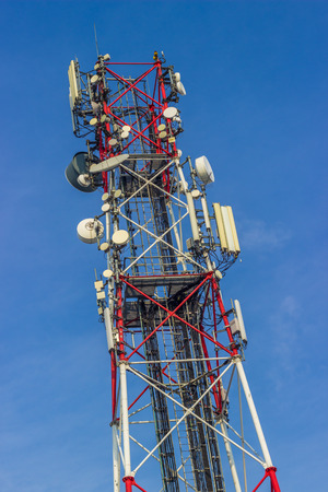 high frequency: Red and white antenna Stock Photo
