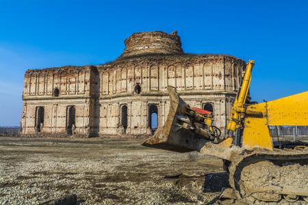 church ruins: Ancient church ruins beeing demolished