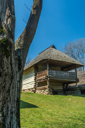 thatched: Authentic Romanian village house built with natural bio materials and ancient techniques in traditional architecture.