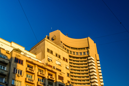 intercontinental: Bucharest, Romania - November 17, 2015: Intercontinental Hotel. The Intercontinental is a 5 star hotel, built in the age of comunism. Its also one of the symbols of the city. Editorial