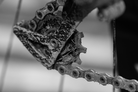 freewheel: Bike gears with chain (selective focus). Black and white close up of bicycle gear with details, chain and gearshift mechanism.