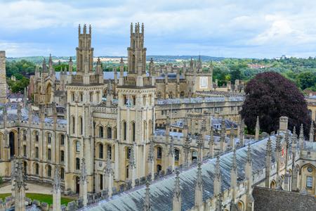 All Souls College, Oxford University, Oxford, UK. Horizontal view with All Souls College and Oxford University. Editorial