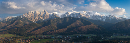 Beautiful springtime landscape of mountains and cloudy sky. View at Zakopane from the top of Gubalowka, Tatra Mountains in Poland. Zakopane with many interesting details.Kasprowy wierch.Giewont. Reklamní fotografie