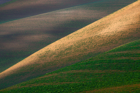 Field abstraction.Colorful plowed field with geometric intersecting lines. South Moravian, Czech Republic