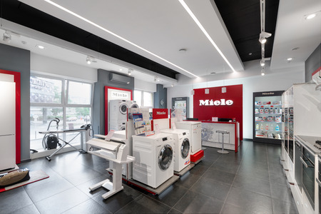 Minsk, Belarus - June 25,2017: Miele Sales Office In Minsk. Miele Is A German Based Manufacturer Of Premium Class Household Appliances :Washing Machine, Kitchen Electric And Gas Cookers And Many Other Redakční