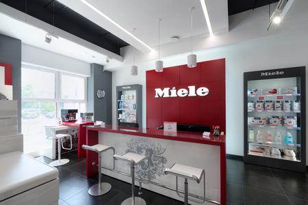 Minsk,Belarus - June 25, 2017: Miele Sales Office In Minsk (Belarus). Miele Is A German Based Manufacturer Of Premium Class Household Appliances, Commercial Equipment And Household Chemicals
