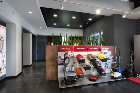 Minsk, Belarus - June 25, 2017: Miele Sales Office In Minsk (Belarus). Miele Is A German Based  Manufacturer Of High-Quality Household Appliances Of Premium Class. Exposition with vacuum cleaners