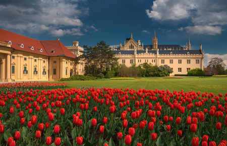 Beautiful view of Lednice Castle with storm clouds and blooming red tulips.Lednice palace is one of the most impressive historical monuments in the Czech Republic. South Moravia attractions Redakční