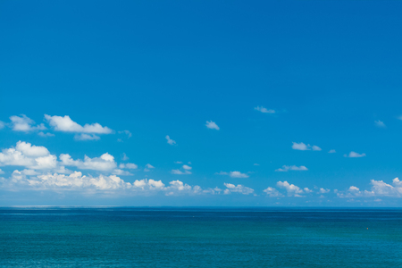 profound: Low sea horizon with clouds. Stock Photo