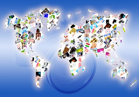 Map of the world consisting of a set of photos Stock Photo - 9893909