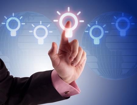 business man pressing a digital button Stock Photo