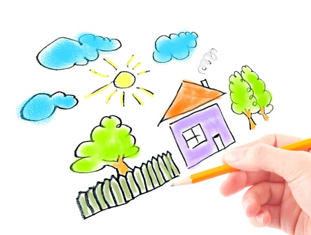 hand draw: Womans hand with the pencil and brushes drawing the dream home on a white sheet of paper