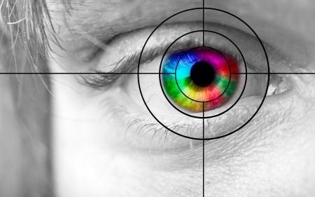 globo ocular: Detalle del ojo humano colorido y el destino