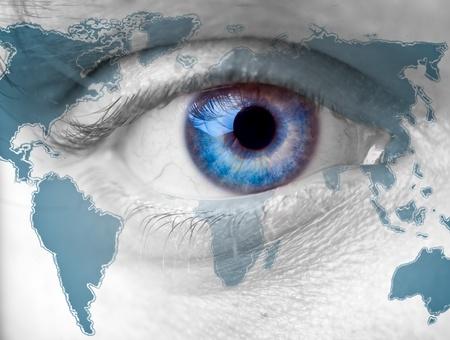 Close up Mans blue Eye on the world