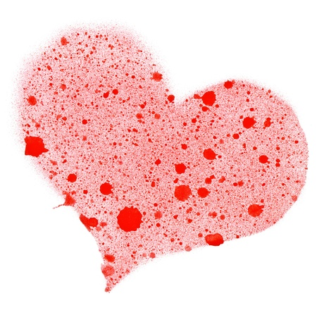 Red heart on white background. photo