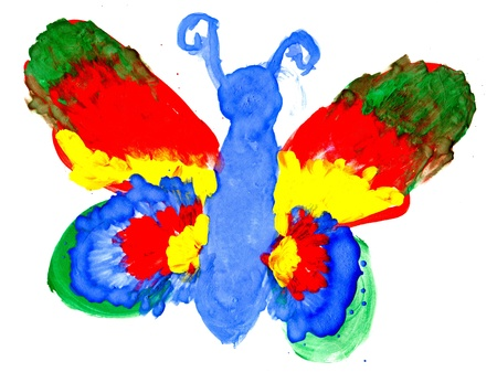 children painting: The big butterfly with colourful wings drawing by the child on a paper Stock Photo
