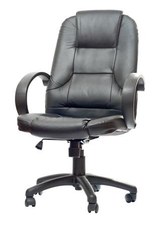 imitation leather: La sedia da ufficio da similpelle nera. Isolato Archivio Fotografico