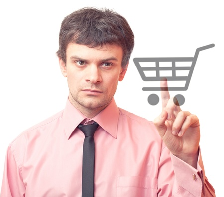 Man hand pressing shopping cart icon Stock Photo - 9836934