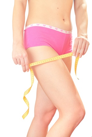 Closeup photo of a Caucasian womans leg. She is measuring her thigh with a yellow metric tape measure. photo